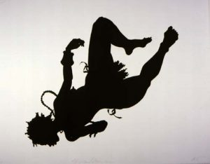 Black silhouette, woman's body seemingly tossed up, diagonal with feet to the upper right, jewelry flying