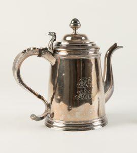 Coffee Pot, silver, monogrammed side