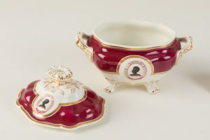Covered Sauce Tureen, open. Footed bottom and handle on lid