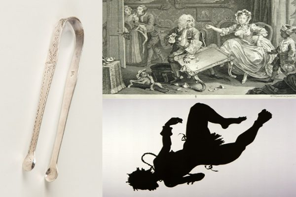 Sugar Tongs, A Harlot's Progress, Plate 2, African/American. Snall inages of metal two-pronged object, print of woman with overturned table, below silhouette of upside-down woman with beas