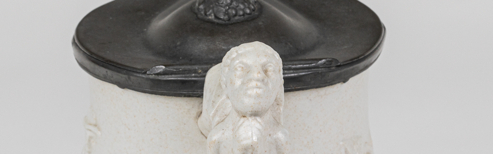 Slavery Close Up Handle; Human Head with cropped hair; grey pewter lid